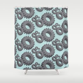 Mechanical cogwheels in 3D Shower Curtain