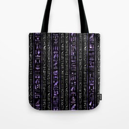 Amethyst and Silver Egyptian hieroglyphics pattern Tote Bag