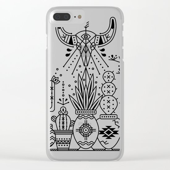 Santa Fe Garden – Black Ink Clear iPhone Case