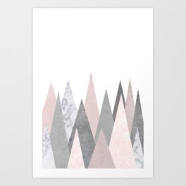 BLUSH MARBLE GRAY GEOMETRIC MOUNTAINS Art Print