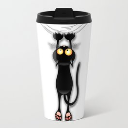 Fun Black Cat Falling Down Travel Mug
