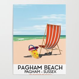 Pagham Beach West Sussex travel poster, Poster