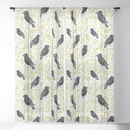 Blackbird and Foliage II Sheer Curtain