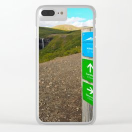 Hiking to Svartifoss Waterfall in Vatnajökull National Park, Iceland Clear iPhone Case
