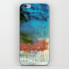 Flamingo Illustration on watercolor - at night iPhone & iPod Skin