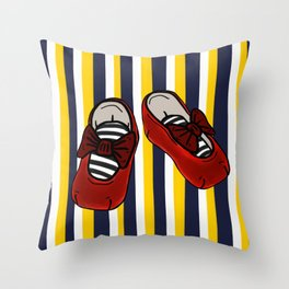 Ruby Slippers on vertical Navy and yellow stripes Throw Pillow