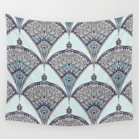 deco Wall Tapestries featuring Deco Doodle in Aqua, Cream & Navy Blue by micklyn