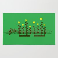 music notes Area & Throw Rugs featuring Music notes garden by Picomodi