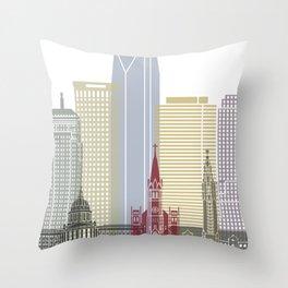 Oklahoma City skyline poster Throw Pillow