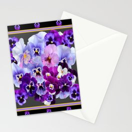 MODERN ART PURPLE PANSY COLLECTION Stationery Cards