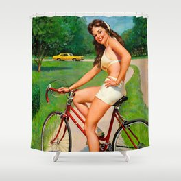 Pin Up Girl and Bicycle Retro Vintage Art Shower Curtain