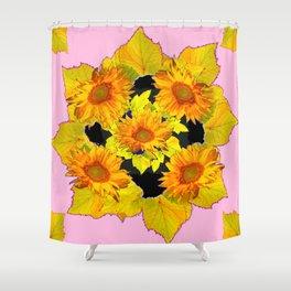 Golden Sunflowers & Leaves Pink-Black Patterns Shower Curtain