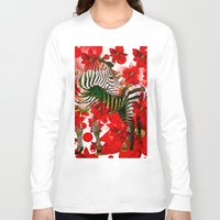 zebra Long Sleeve T-shirts featuring Zebra by Saundra Myles