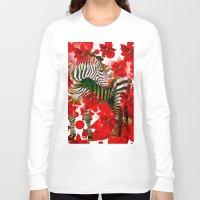 zebra Long Sleeve T-shirts featuring Zebra by Saundra Myles