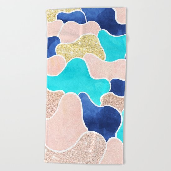 Color block faux gold turquoise pink watercolor Beach Towel
