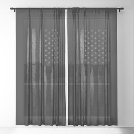 Grey American flag Sheer Curtain