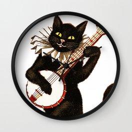 Cat playing a banjo Wall Clock