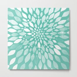 Radiant Dahlia in Teal and White Metal Print