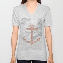 coastal chic white marble rose gold  nautical anchor Unisex V-Neck