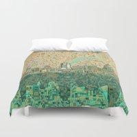 cincinnati Duvet Covers featuring cincinnati city skyline by Bekim ART