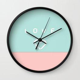 Paper love on mint green Wall Clock