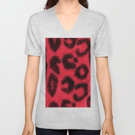 Spotted Leopard Print Red Unisex V-Neck