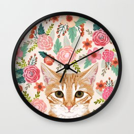 Tabby Cat florals cute spring garden kitten orange tabby cat lady funny girly cat art pet gifts  Wall Clock