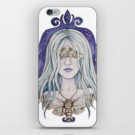 Gothic watercolor universe moth woman iPhone Skin