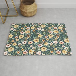 Teal Sunrise Floral, Watercolor Flowers, Poppies and Peonies, Blush Pink, Fall Floral, Mustard Yellow, Teal Rug