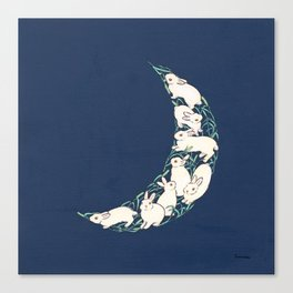 The crescent moon of bunnies and hay Canvas Print