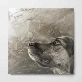 Black and White Loyal Dog Metal Print