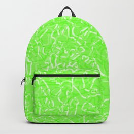 Chaotic white tangled ropes and green pastel lines. Backpack