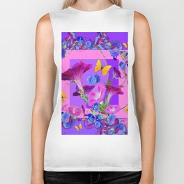 BUTTERFLIES & PURPLE-BLUE MORNING GLORY VINES  PINK VINETTE Biker Tank