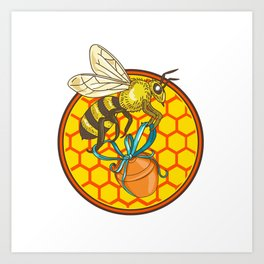 Bumblebee Carrying Honey Pot Beehive Circle Art Print