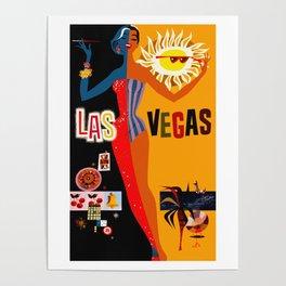 Vintage Las Vegas Travel Poster Poster
