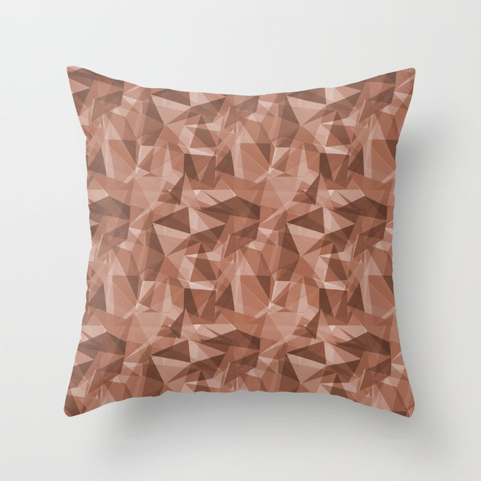Abstract Polygon Sherwin Williams' Color of the Year for 2019, Cavern Clay SW7701 Cubism Triangle 3 Throw Pillow