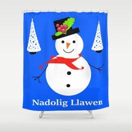Nadolig Llawen, Merry  Christmas snowman Wales Shower Curtain