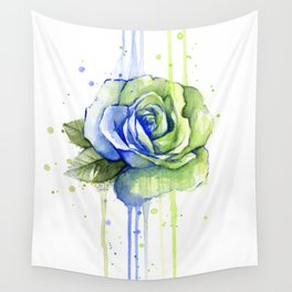 Flower Rose Watercolor Painting 12th Man Art Wall Tapestry
