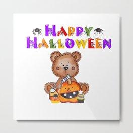 My Teddy Loves Halloween Metal Print