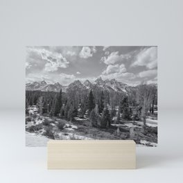 Grand Tetons from Schwabacher Road bw Mini Art Print