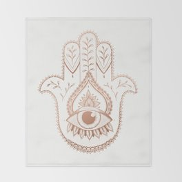 Hamsa Hand - Rosé Gold Throw Blanket