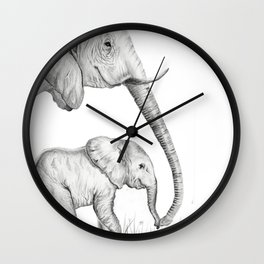 Mother and Baby Lepehant Wall Clock