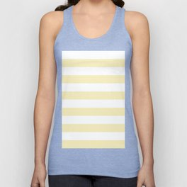 Horizontal Stripes - White and Blond Yellow Unisex Tank Top