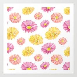 Blush pink yellow watercolor hand painted daisies floral Art Print
