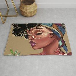 Solitude Blank: African American Black Woman Artwork Rug