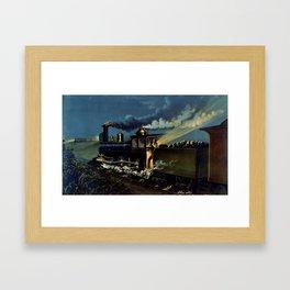 The Danger Signal: Train Scene, Currier & Ives Framed Art Print