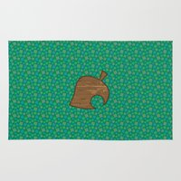 animal crossing Area & Throw Rugs featuring Animal Crossing Summer Grass by Rebekhaart
