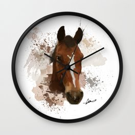Brown and White Horse Watercolor Wall Clock