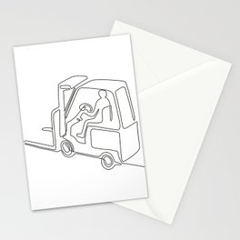 Forklift Truck Continuous Line Stationery Cards