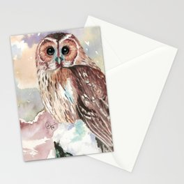 """""""No post on sundays"""" - Owl in the snow Stationery Cards"""